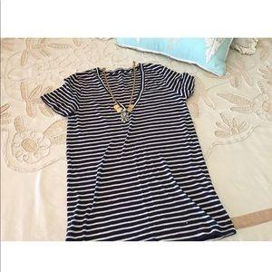 J.Crew Retail vintage cotton striped v-neck tee S